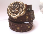 Brown Looped with small rose buckle