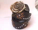 Flower belt with large brass rose