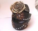 Flower belt with large brass rose